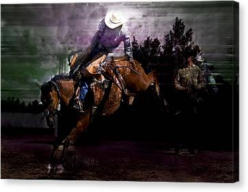 Saddle Bronc Silhouette Canvas Print by Mark Courage