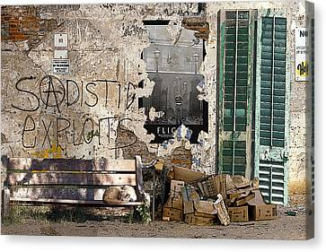 Sadistic Exploits Canvas Print by Tom Romeo