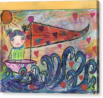 Floating Girl Canvas Print - Safe Sailing by MaryKaye Wells