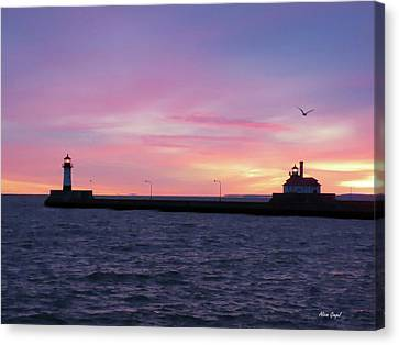 Duluth Canal Park Canal Park Lighthouse Lighthouse Lake Superior Minnesota Canvas Print - Safe Travels by Alison Gimpel