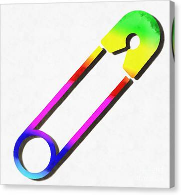 Safety Pin Rainbow Painting Canvas Print