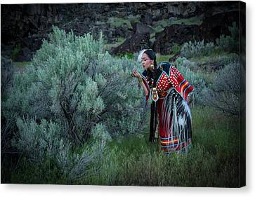 Native American Spirit Portrait Canvas Print - Sage Woman by Christian Heeb