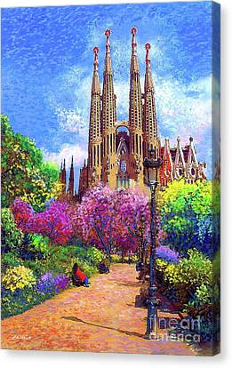 Sacred Canvas Print - Sagrada Familia And Park,barcelona by Jane Small