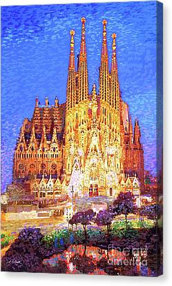 Stained Glass Canvas Print - Sagrada Familia At Night by Jane Small
