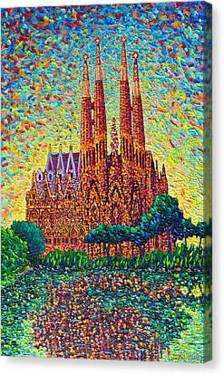 Sagrada Familia Barcelona Modern Impressionist Palette Knife Oil Painting By Ana Maria Edulescu Canvas Print by Ana Maria Edulescu