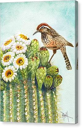 Canvas Print featuring the painting Saguaro And Cactus Wren by Marilyn Smith