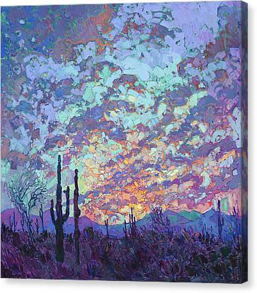 Bold Colors Canvas Print - Saguaro Dusk by Erin Hanson