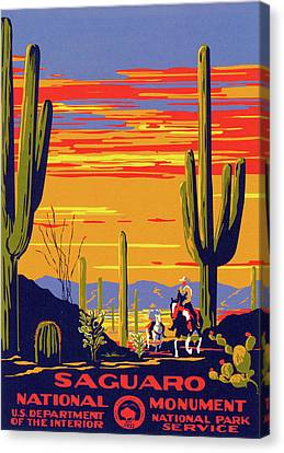 Saguaro National Park Vintage Travel Poster Canvas Print by Ipa