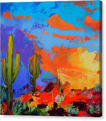 Saguaros Land Sunset By Elise Palmigiani - Square Version Canvas Print by Elise Palmigiani