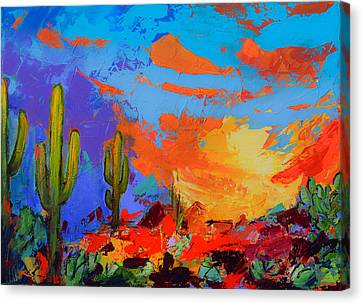 Saguaros Land Sunset Canvas Print by Elise Palmigiani