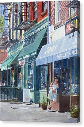 Nyc Fire Escapes Canvas Print - Sahadis Atlantic Avenue Brooklyn by Anthony Butera