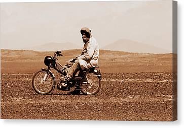 Canvas Print featuring the photograph Sahara Biker by Ramona Johnston