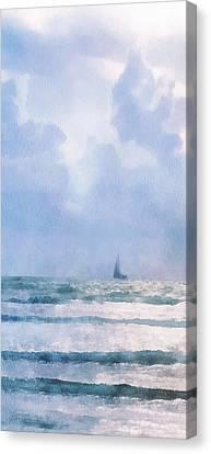 Canvas Print featuring the digital art Sail At Sea by Francesa Miller