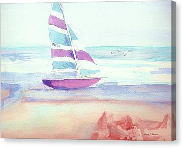 Canvas Print featuring the painting Sail Away by Denise Fulmer