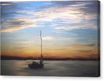 Canvas Print featuring the painting Sail Away by Wayne Pascall