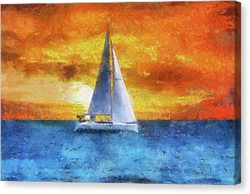 Water Vessels Canvas Print - Sail Boat Pa 02 by Thomas Woolworth