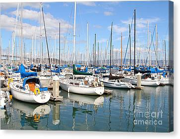 Sail Boats At San Francisco China Basin Pier 42 With The Bay Bridge In The Background . 7d7664 Canvas Print by Wingsdomain Art and Photography