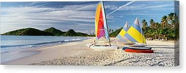 Sail Boats On The Beach, Antigua Canvas Print by Panoramic Images
