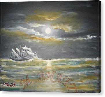 Sail In Moonlight Canvas Print by M Bhatt