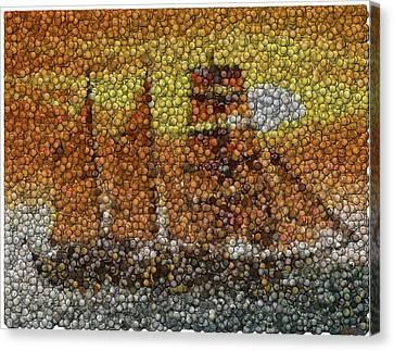 Canvas Print featuring the mixed media Sail Ship Coins Mosaic by Paul Van Scott