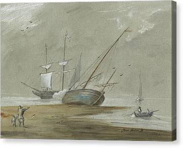 Sail Ships And Fishing Boats Canvas Print by Juan Bosco