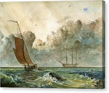 Sail Ships Canvas Print by Juan  Bosco
