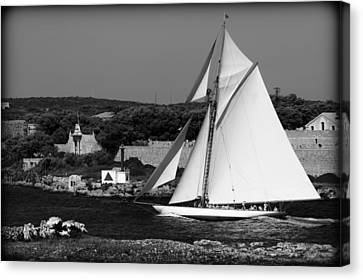 sailboat - a one mast classical vessel sailing in one of the most beautiful harbours Port Mahon Canvas Print