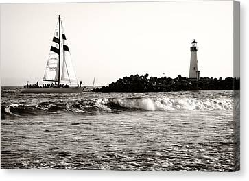 Sailboat And Lighthouse 2 Canvas Print