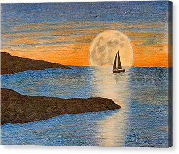 sailboat and Moon Canvas Print by Karrie Zenz