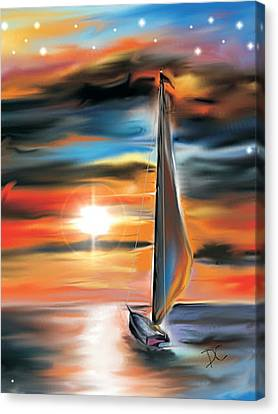 Sailboat And Sunset Canvas Print