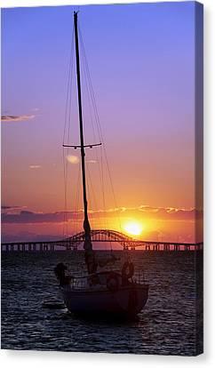 Sailboat And The Bridge At Sunrise Canvas Print by Vicki Jauron
