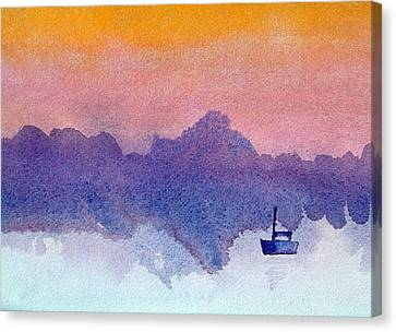 Sailboat At Dawn Canvas Print