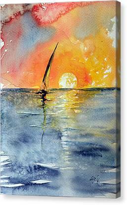 Sailboat At Sunrise Canvas Print by Kovacs Anna Brigitta