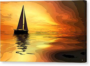 Sailboat At Sunset Canvas Print by Charles Shoup