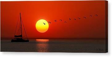 Canvas Print featuring the photograph Sailboat At Sunset by Joe Bonita