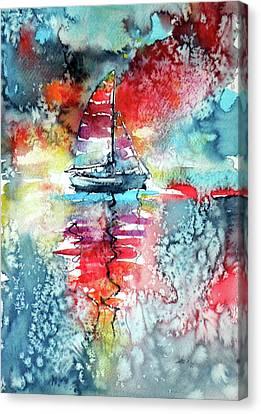 Sailboat At The Sinshine Canvas Print by Kovacs Anna Brigitta