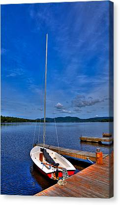 Sailboat At The Woods Inn Canvas Print by David Patterson