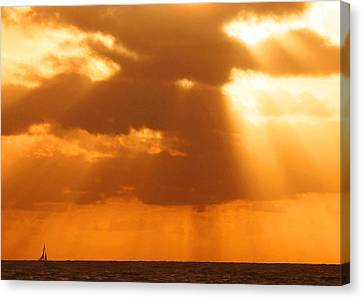 Sailboat Bathed In Hazy Rays Canvas Print
