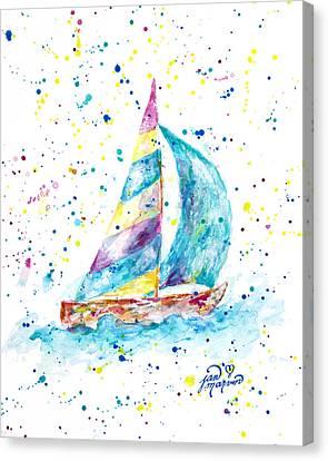 Sailboat By Jan Marvin Canvas Print