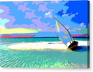 Sun Rays Canvas Print - Sailboat by Charles Shoup