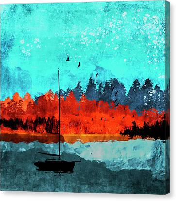 Foliage Canvas Print - Sailboat Daybreak Lake by Carol Leigh