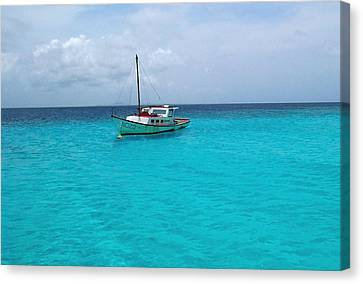 Sailboat Drifting In The Caribbean Azure Sea Canvas Print