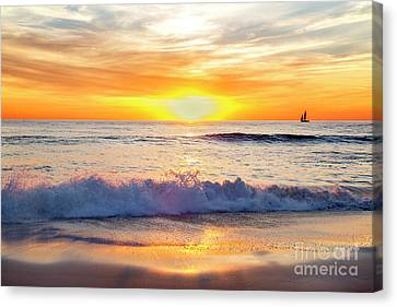 Canvas Print - Sailboat Gliding  By Marine Street Beach, La Jolla, California by Julia Hiebaum