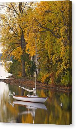 Sailboat In Alburg Vermont  Canvas Print by George Robinson