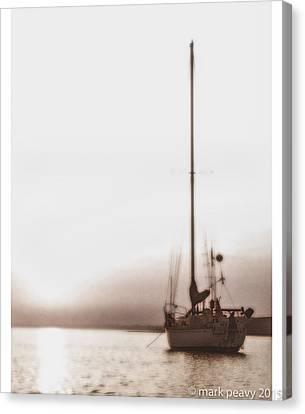 Sailboat In Fog Canvas Print