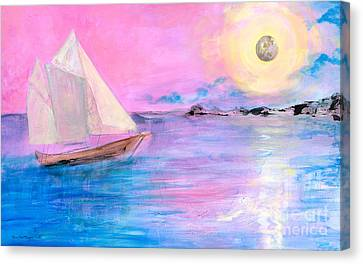 Sailboat In Pink Moonlight  Canvas Print by Robin Maria Pedrero