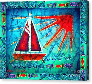 Sailboat In The Sun Canvas Print by Sue Duda