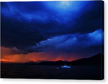Canvas Print featuring the photograph Sailboat In Thunderstorm by Sean Sarsfield