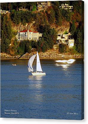 Sailboat In Vancouver Canvas Print by Robert Meanor