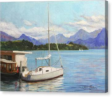 Sailboat On Lake Lucerne Switzerland Canvas Print by Anna Rose Bain